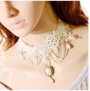 Punk-Victorian-Goth-Lolita-Lace-Flower-Necklace-Gemstone-Collar-Choker-Pendant