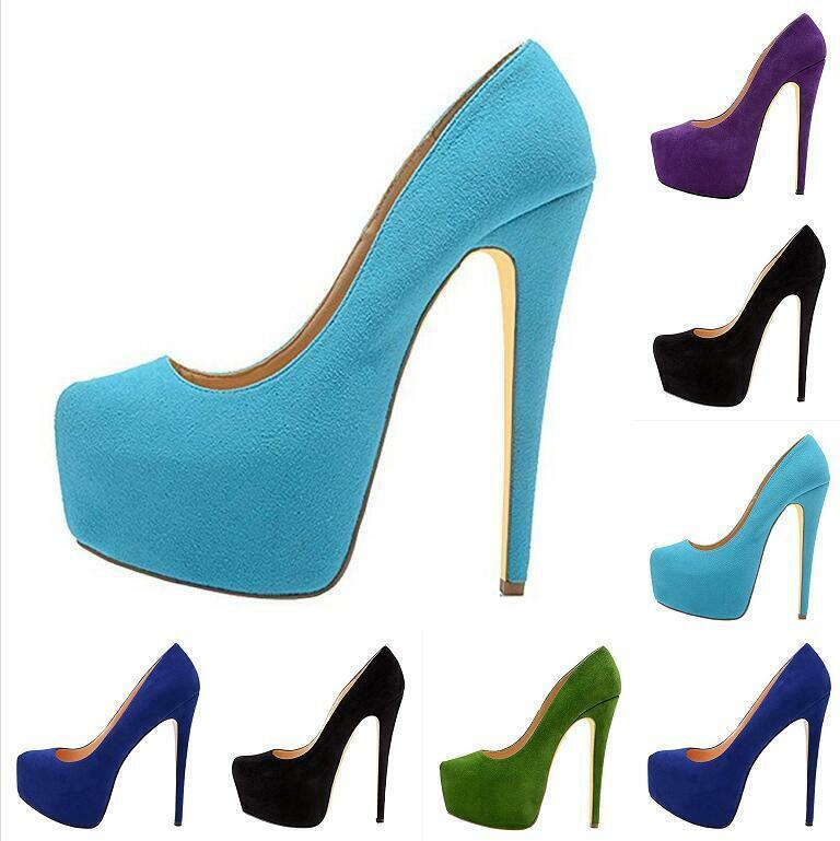 Lady Suede Platform Round Toe Big Size Stilettos High Heel Slip On Occident Pump