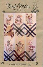 Bird Brain Designs Christmas Tea Towels Pattern Reindeer Santa Snowman-Model 326