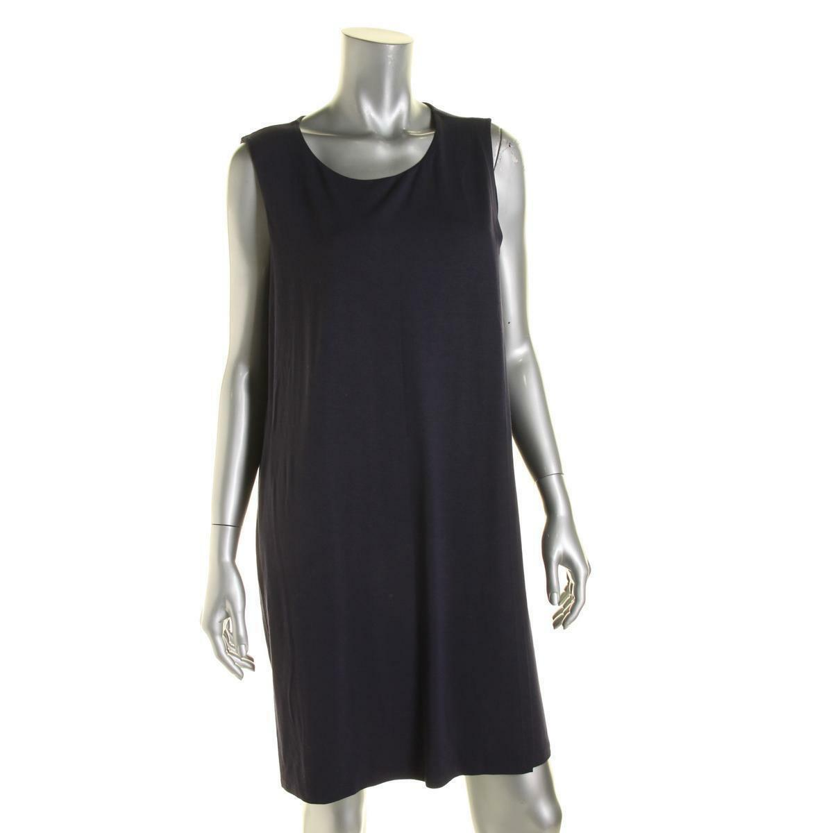Eileen Fisher Fisher Fisher MIDNIGHT Faux Wrap Dress  Viscose Jersey PP  178 342128