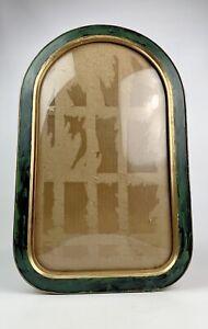 Antique Painted gold Guilt Octagon Oval Picture Frame Convex Bubble Glass 21x13