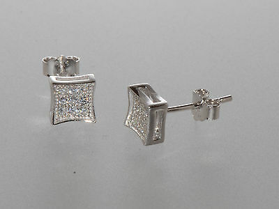 Sterling Silver Micropave Stud Earrings Kite Shaped 6mm x 6mm