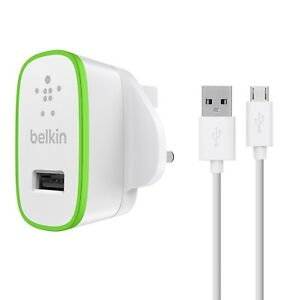 Belkin-Universel-2-1Amp-Micro-USB-Chargeur-amp-Cable-Synchronisation-blanc-vert