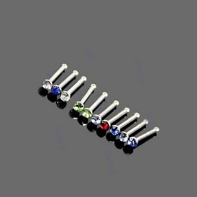 Stainless Steel Rhinestone 10PCS Nose Studs Rings Pins Bars
