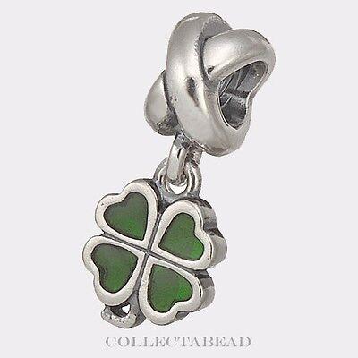 Authentic Pandora Sterling Silver Dangle Green Four-Leaf Clover Bead 790572EN25