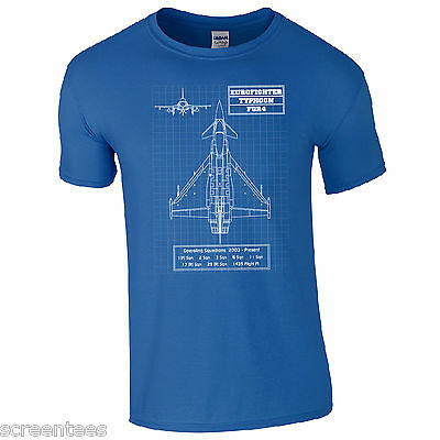 Typhoon Eurofighter T-Shirt - BAE FGR4 Style Military Aircraft RAF Blueprint Top