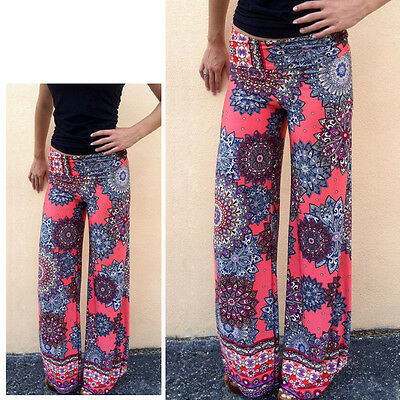 Women's Floral Wide Leg Palazzo Trousers Baggy Gypsy Yoga Long Loose Harem Pants