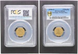 Weimar 5 Pfennig 1936 g prägefrisch PCGS MS64 (37487)