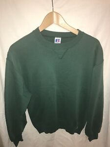 VTG-80s-90s-Russell-Athletic-Crew-Neck-Sweatshirt-Blank-Green-Mens-M-MADE-IN-USA
