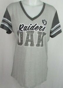 Oakland-Raiders-NFL-Team-Apparel-Women-039-s-Short-Sleeve-Shirt-V-Neck-Gray-L-and-XL