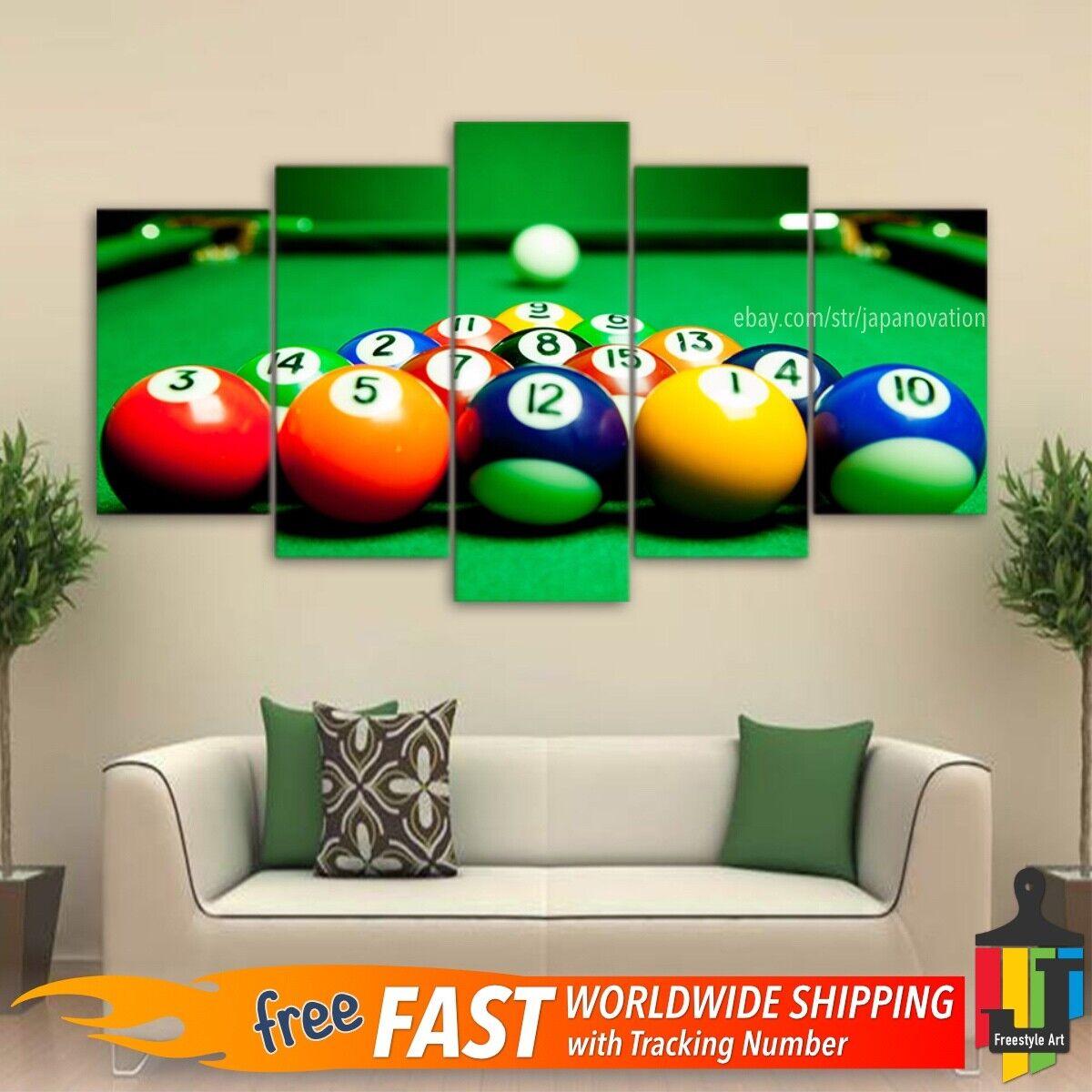 5 Pcs Wall Art Canvas Decor Print Casino Club Billiards Game Sports Pool Snooker