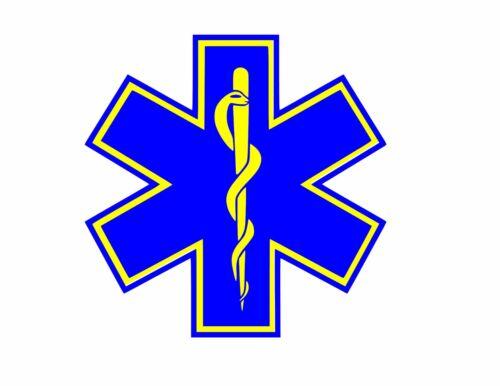 STAR OF LIFE EMT EMS Vinyl Window Decal//Sticker BLUE//YELLOW