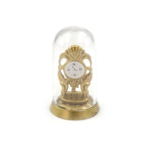 Dollhouse Miniature Vintage Domed Gold Mantle Clock 1:12 Scale Non-working EcA9H