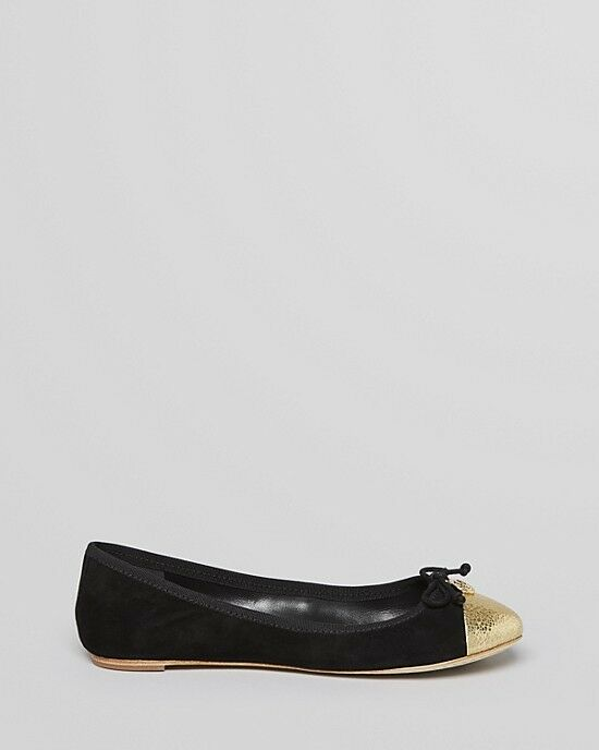 Tory Tory Tory Burch Chelsea Black gold Leather Ballet Flats 5-12 032c0a