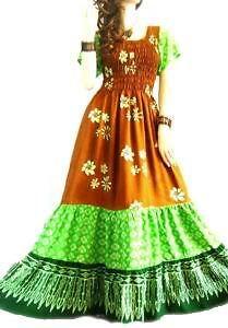 3 TIER Brown Green Long Dress Batik Gypsy Boho Beach Designer Design Summer Lush