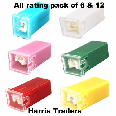 5 X ASSORTED J CASE STANDARD FEMALE CARTRIDGE PAL FUSES 20 30 40 50 60 AMP