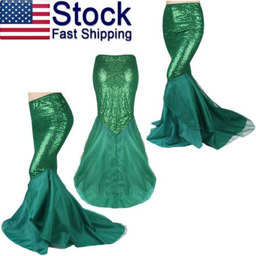 Women Sequined Mermaid Tail Skirt Bodycon Skirt Party Cosplay Costume Long Skirt