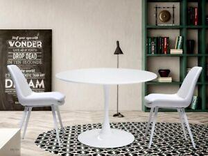 Tavolo Tondo Laccato Bianco.Tavolo Tondo D 110 Piano Legno Laccato Base Acciaio Nei Colori