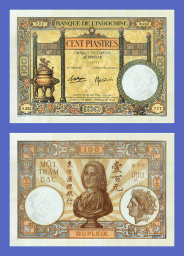 Lots of 4 notes Reproductions 100 Piastres -4 Signature VIETNAM INDOCHINE