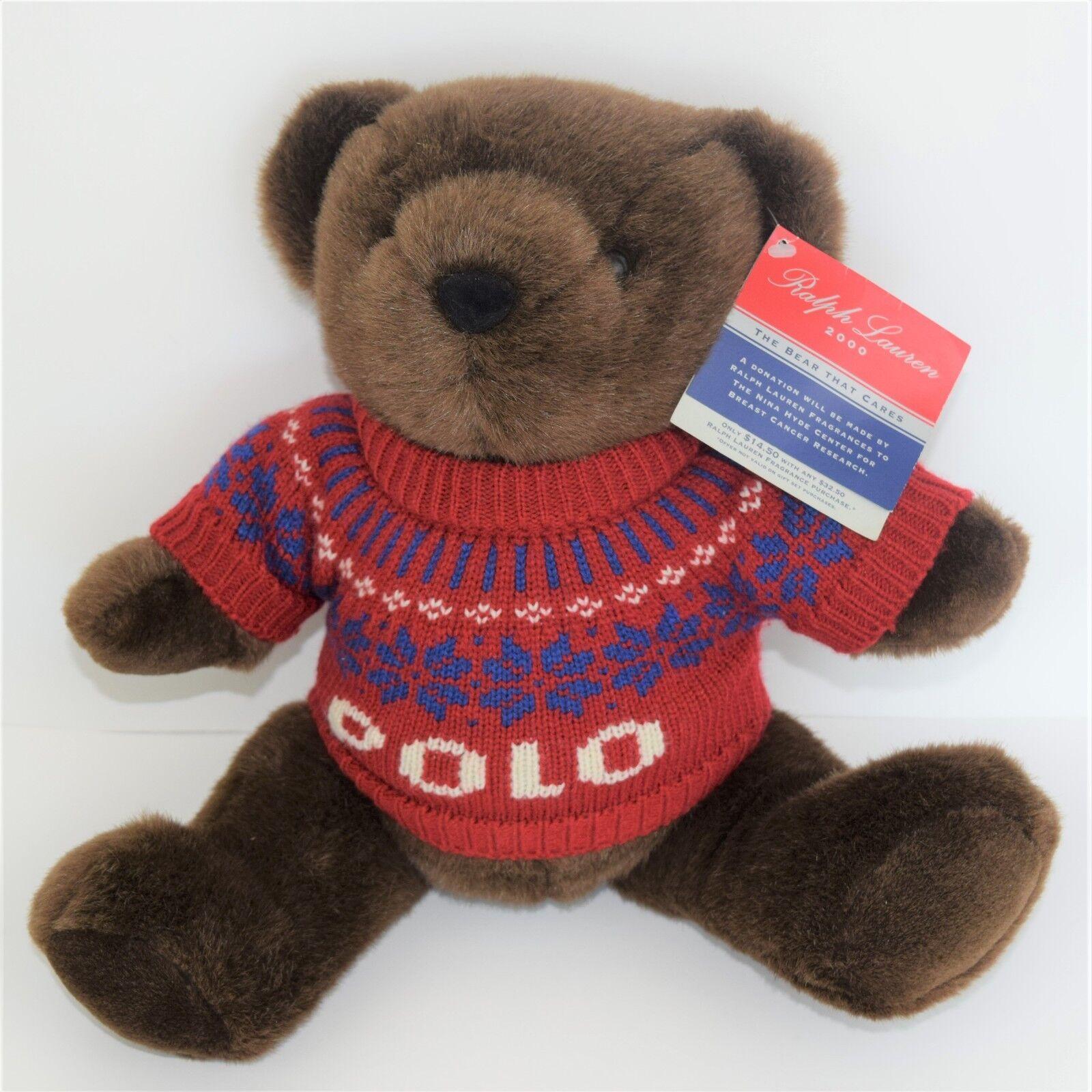 Ralph LAUREN POLO Teddy Bear rot SNOWFLAKE Ski Sweater 2000 Millennial PLUSH