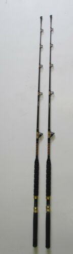 GOLD AND RED TRIM PAIR OF XCALIBER MARINE  TROLLING ROD 20-40LB