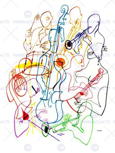 PAINTING ILLUSTRATION MUSIC MUSICIAN COLOUR CELLO DRUM ART POSTER PRINT CC6582