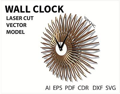 FILE DXF CDR EPS AI SVG for Laser Cut or CNC ROUTER Wall clock   eBay