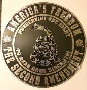 2nd-AMENDMENT-AMERICA-039-S-FREEDOM-CIRCLE-SIGN-DONT-TREAD-ON-ME-EMBOSSED