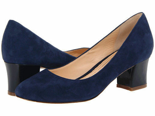 $238 size 9 Cole Haan Chelsea Flared Heel Blue Suede Pumps Womens Shoes