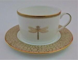 Lenox-Kate-Spade-JUNE-LANE-Gold-Rim-Dragonfly-Bee-Flat-Cup-amp-Saucer-Set