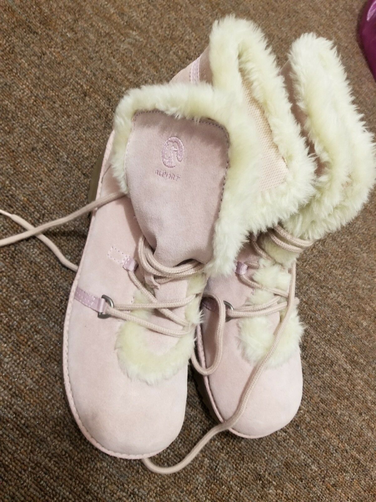 NEW REPORT IMPACT Women bluesh Pink Suede Faux Fur OVER ANKLE Boot US Size11