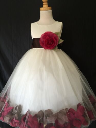 Ivory Flower Girl Bridesmaids Elegant Fall Wedding Mixed Rose Petal Dress #24
