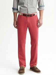 NEW-Banana-Republic-Emerson-chino-flat-front-vintage-straight-fit-pants-35-x-32