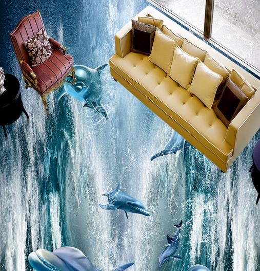 3D Dolphins Storm 54 Floor WallPaper Murals Wall Print 5D AJ WALLPAPER UK Lemon