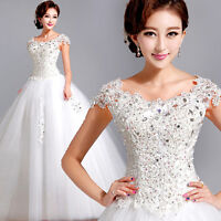 Lace Up White A-line Wedding Dress Bridal Gown V Neck Off Shoulder Diamante C136