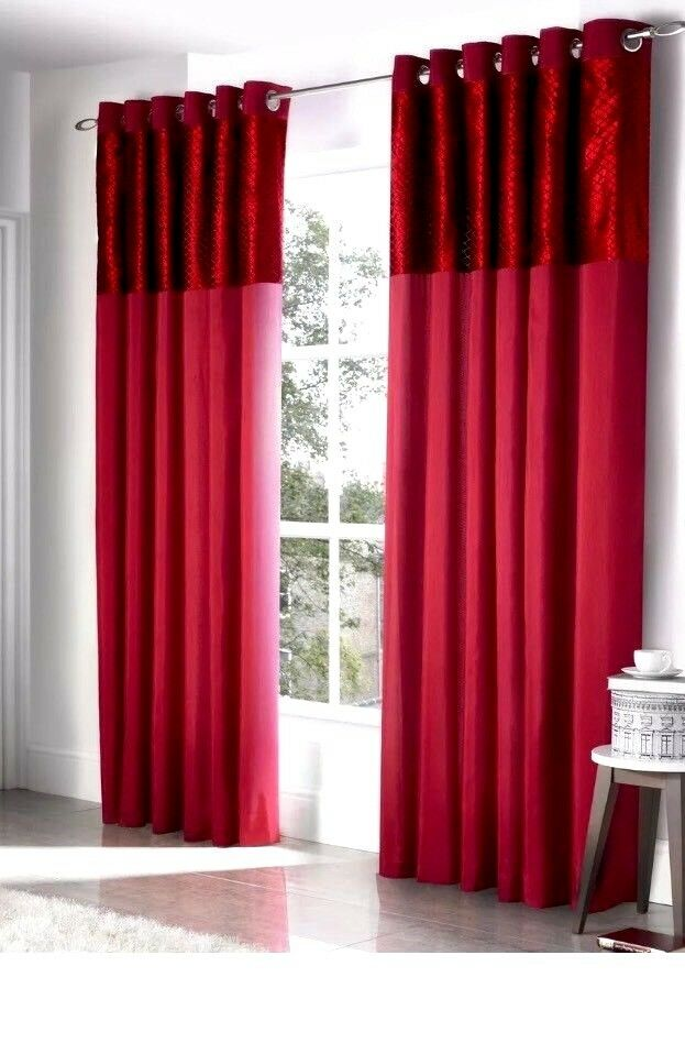 Savoy Luxury Curtains rot Eyelet Curtains Lined Savoy with Ring Größe 90 x 90