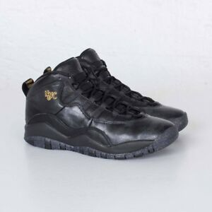 310806-012 Air Jordan Retro 10 X NYC Big Kids BG GS Black Gold  0420b9669