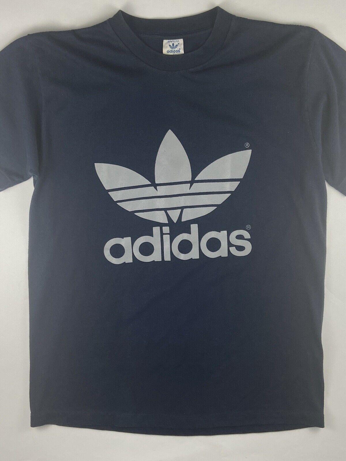 VTG ADIDAS 2 Sided Single Stitch Trefoil Logo Blue Grey T Shirt 1980s Med Large