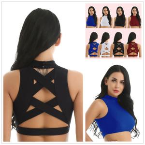 Sexy-Women-Mock-Neck-Tank-Tops-Yoga-Gym-Sports-Dancewear-Workout-Vests-Crop-Tops
