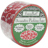 Damask Style Red Floral Packing Carton Sealing Tape Paisley Scroll 25 Yd X 1.8