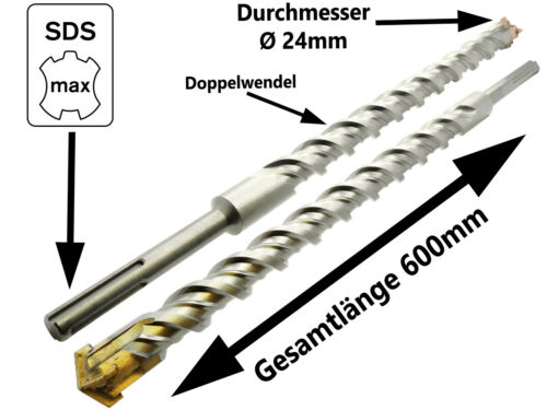 SDS-MAX Hammerbohrer Betonbohrer Ø 24 x 600 mm Quadro Stein Maurwerk Bohrer