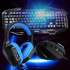 ARES K3 7 LED Backlit Gaming Keyboard and Mouse Mice CT-820 Blue Headphone Combo