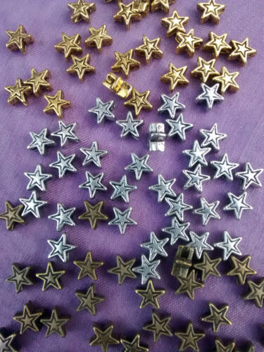 50 x TIBETAN SILVER BRONZE GOLD GOLDEN STAR SPACER BEADS 6mm x 6mm x 3mm