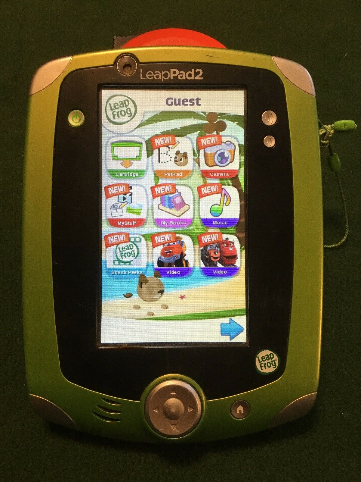 LeapFrog LeapPad 2 Learning System Kids Tablet Green Works Great