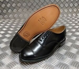 Genuine British Made Military Leather Black Oxford Shoe With Toe Cap CX3