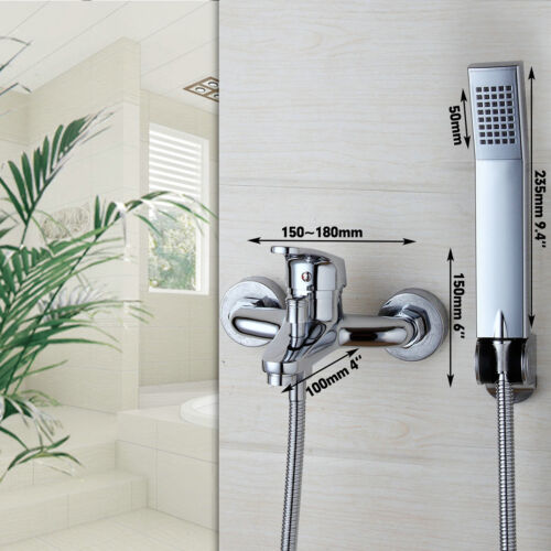 Wall Mounted Bathroom Chrome Rainfall Bathtub Shower Mixer Tub Tap Faucet set