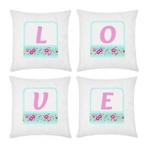 Cuscini Love.Set 4 Federe Per Cuscini Love Shabby Chic Personalizzabili Con