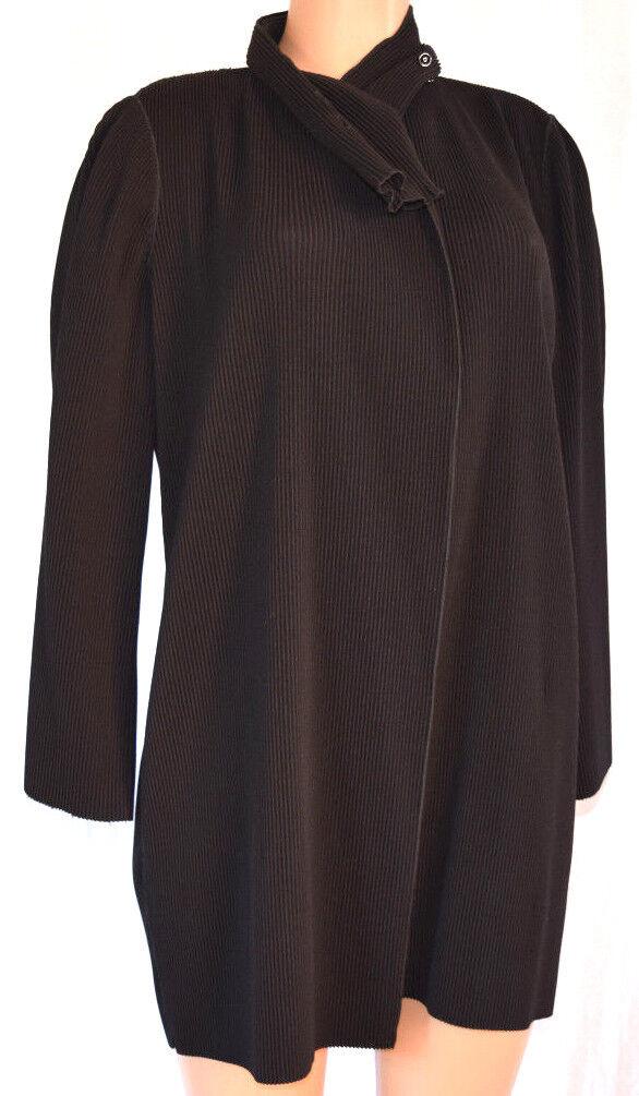 Giorgio Armani Schwarz Plissiert Langärmlig Mantel Größe 42