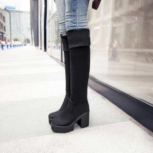 New Womens Cuffed Platform Chunky High Heels Over the Knee Slim Thigh High Boots