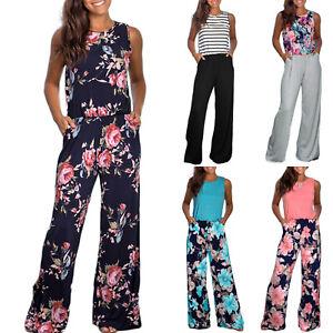 buy online 8b757 95321 Details zu Damen Blumen Romper Sommer Overall Weites Bein Jumpsuit  Hosenanzug Hose Playsuit